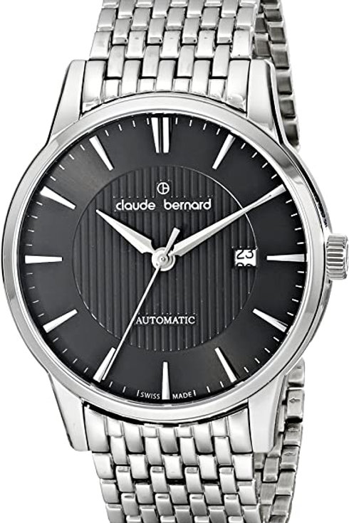 Claude Bernard Classic Automatic Black|Silver|Silver CB80091-3M-NIN front view