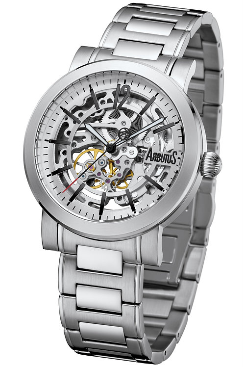ARBUTUS Skeleton AR1719SWS, Front View, Stainless Steel, White Dial with Indices, Stainless Steel Bracelet