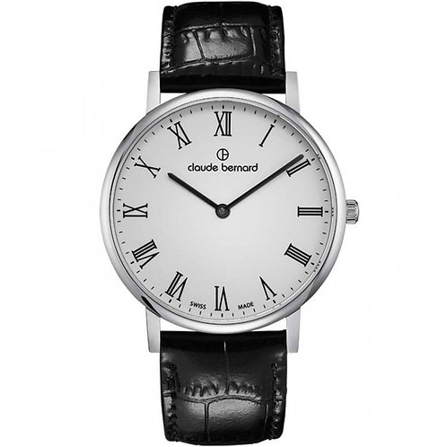 Claude Bernard Slim Line Two Hands White|Silver|Black CB20219-3-BR