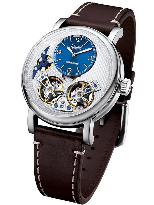 ARBUTUS Double Balance Wheel AR1804SWF, Front View, White Dial with Blue Mini Dial, Brown Leather Strap, Stainless Steel
