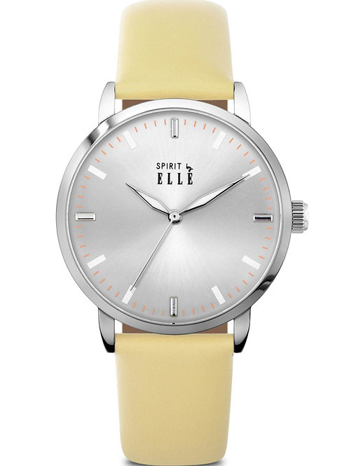 Elle steel case, sunray silver dial, yellow strap ES20103S01X front view
