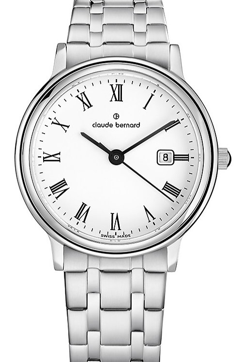Claude Bernard Classic Gents/Ladies White|Silver|Silver CB54005-3M-BR