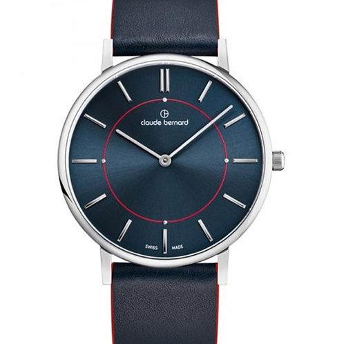 Claude Bernard Slim Line Two Hands Blue|Silver|Blue CB20219-3C-BUINRO front view