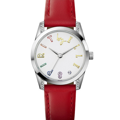 Elle Steel with Stone case, White Sandblast with Stone dial, Red strap ES20148S0 front view