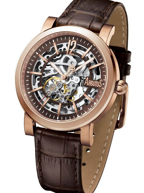 ARBUTUS Skeleton AR1719RFF, Front View, Brown Dial with Indices, Stainless Steel with Rosegold Plating, Brown Leather Strap