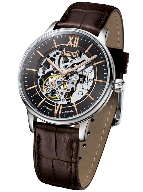 ARBUTUS Skeleton Automatic AR1808SNF, Front View, Grey Dial with Rosegold Indices, Brown Leather Strap, Sapphire Lens