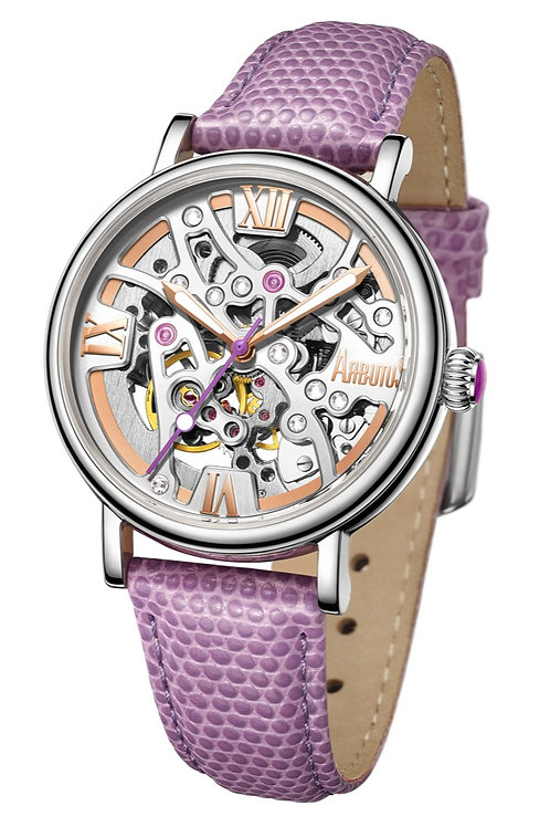 ARBUTUS Ladies Skeleton AR1906SWV, Front View, Silver White Sunray Dial, Sophisticated Purple Leather Strap