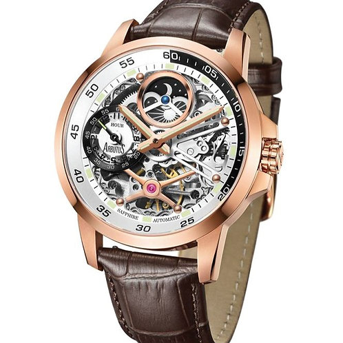 ARBUTUS Dual Time Skeleton AR1905RWF, Front View, Silver White Dual in IP Rosegold, Dual Time/Moon Phase, Brown Leather Strap