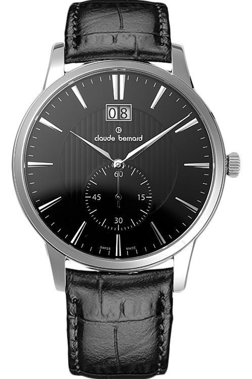 Claude Bernard Classic Big Date Small Second Black|Silver|Black CB64005-3-NIN front view