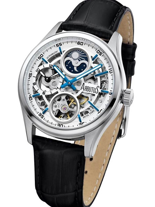 ARBUTUS Dual Time AR1606SWB, White Dial with Black Indices, Black Leather Strap, Dual Time/Moon Phase, Stainless Steel
