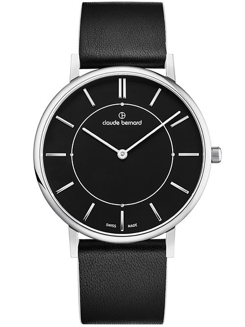 Claude Bernard Slim Line Two Hands Black Silver Black CB20219-3C-NINB front view