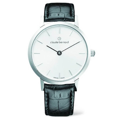 Claude Bernard Classic Gents Slim Line  Silver|Silver|Black CB20201-3-AIN front view