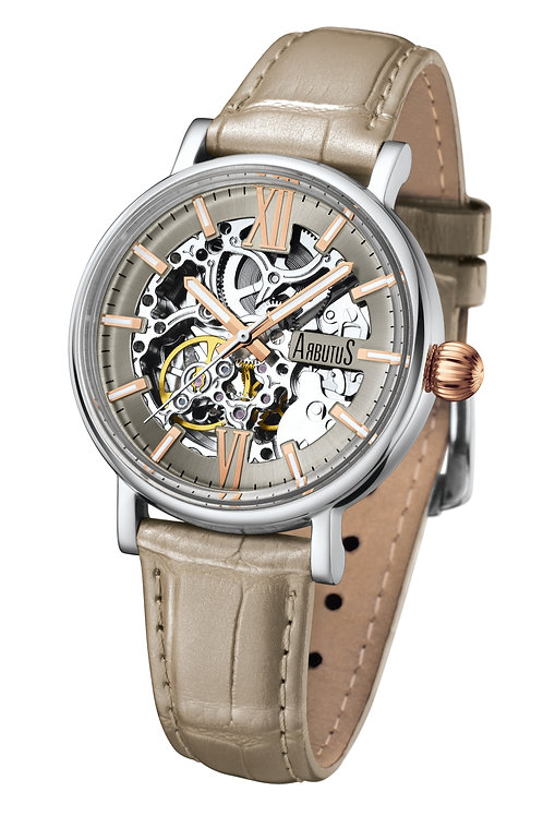 ARBUTUS Ladies Skeleton AR910SFW, White Dial with Index, Stainless Steel, Sandy White Leather Strap, 40Hr Power Reserve