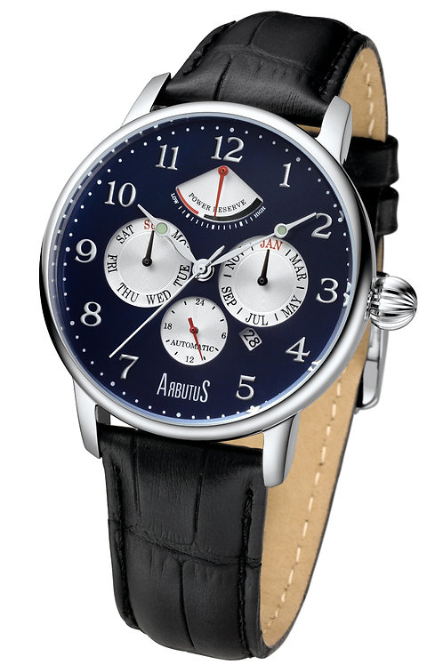 ARBUTUS Power Reserve AR914SUB, Blue Double Layer with Applied Index, Power Reserve/Multi Function/Day, Black Leather Strap