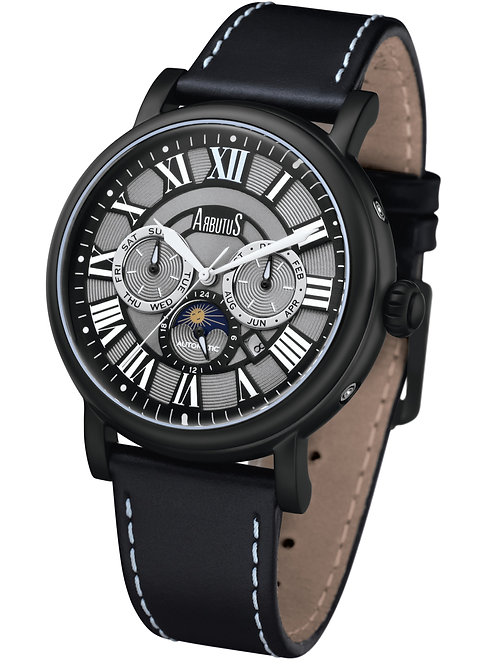 ARBUTUS Classic Multi-Function AR912BBB, Black Leather Strap and Dial, Stainless Steel w Black PT, Month/Day/Moon Indicator