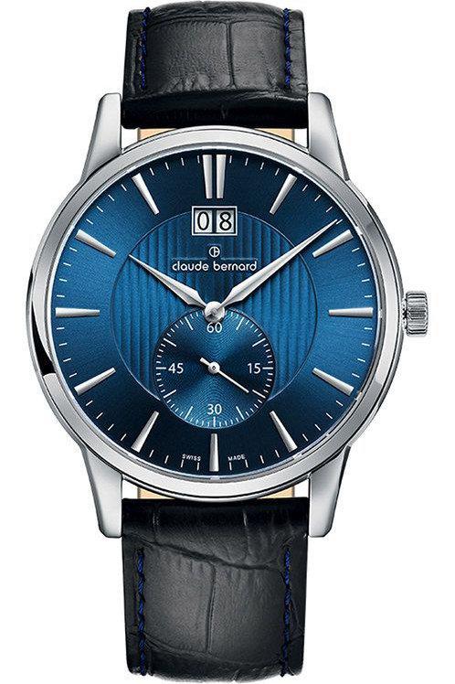 Claude Bernard Classic Big Date Small Second Blue|Silver|Black CB64005-3-BUIN front view