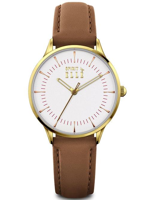 Elle IP Gold case, White Sandblast dial Light Brown strap ES20145S03X