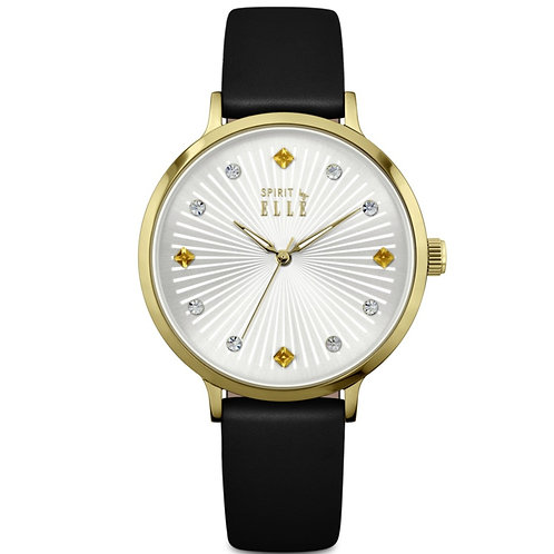Elle sunray silver dial with stones gold case and black leather strap ES20096S04 front view