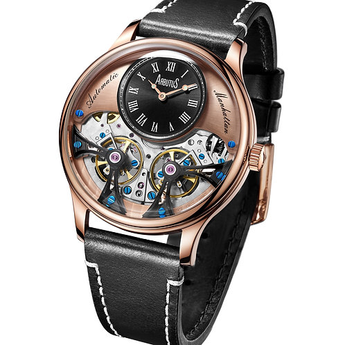 ARBUTUS Double Balance Wheel AR1903RBB, Front View, Rose Gold Dial with Black Mini Dial, Black Leather Strap
