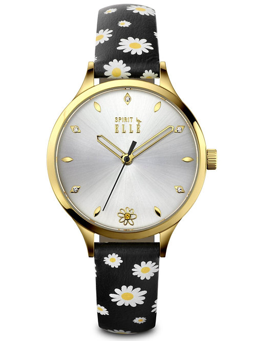 Elle gift set gold black/black patterned strap ES20140S04x front view