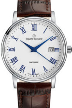 Claude Bernard Classic Gents/Ladies White|Silver|Brown CB53007-3-ARBUN front view