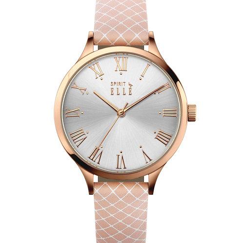 Elle gift set rose gold pink/brown strap ES20140S03X
