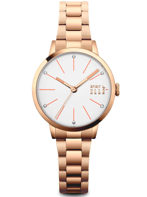 Elle pattern dial with pink index, rose gold bracelet ES20133B04X front view