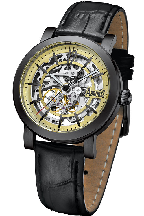 ARBUTUS Skeleton AR1719BGB, Front View, Stainless Steel with IP Black, Gold Dial with Indices, Black Leather Strap
