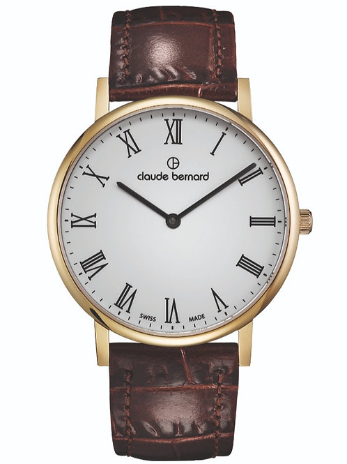 Claude Bernard Classic Two Hands White|Yellow|Brown CB20214-37J-BR