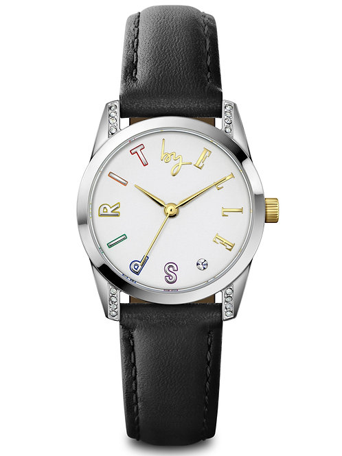 Elle Steel with Stone case, White Sandblast with Stone dial, Black strap ES20148 front view