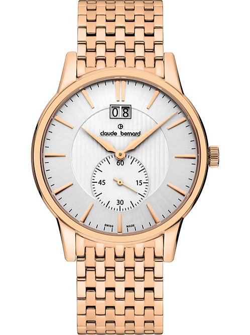 Claude Bernard Classic Small Second WHITE|ROSEGOLD|ROSEGOLD CB64005-37RM-AIR front view