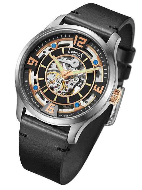 ARBUTUS Skeleton Automatic AR1902SBB, Front View, Black Sand Blast Dial with Rosegold Applied Index, Black Calf Leather Strap