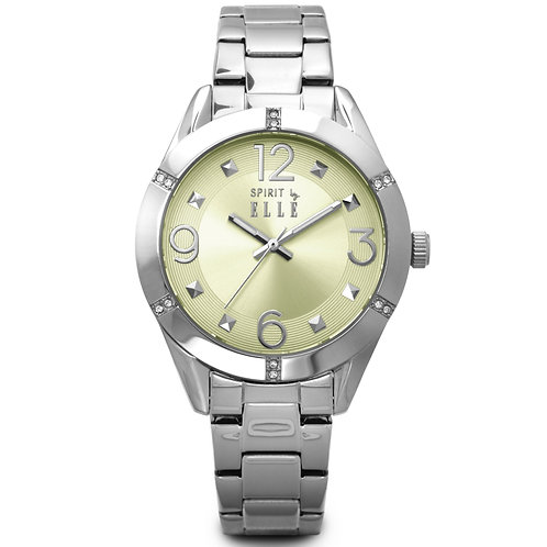 Elle steel case with stone, sunray yellow champagne dial and bracelet