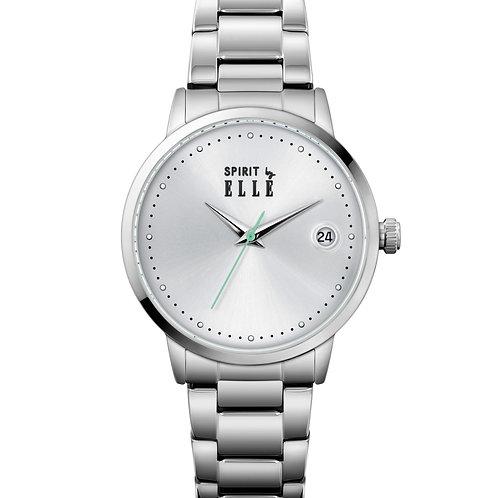 Elle Steel case, White Sandblast dial and bracelet ES20146B05X front view