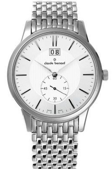 Claude Bernard Classic Big Date Small Second SILVER|WHITE|SILVER CB64005-3M-AIN front view