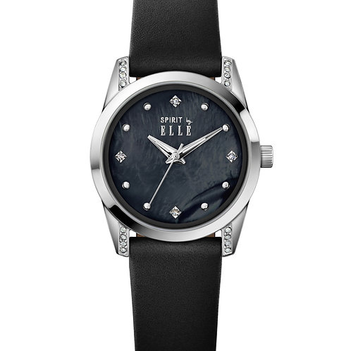Elle Steel with Stone case, Black MOP with Stone dial, Black strap ES20143S02X front view