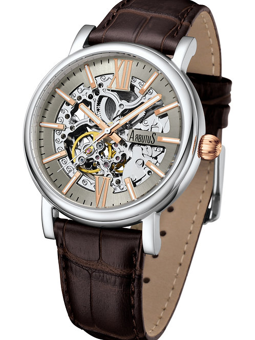 ARBUTUS Classic Skeleton AR911SFF, Light Brown Dial with Rosegold Indexes, Brown Leather Strap, Stainless Steel Case