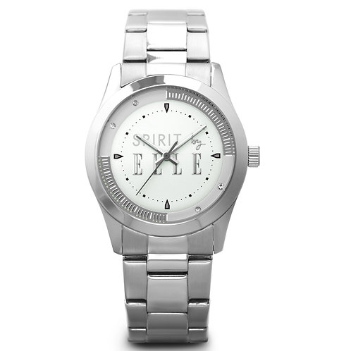 Elle steel case, sunray silver dial and bracelet ES20037B01X front view