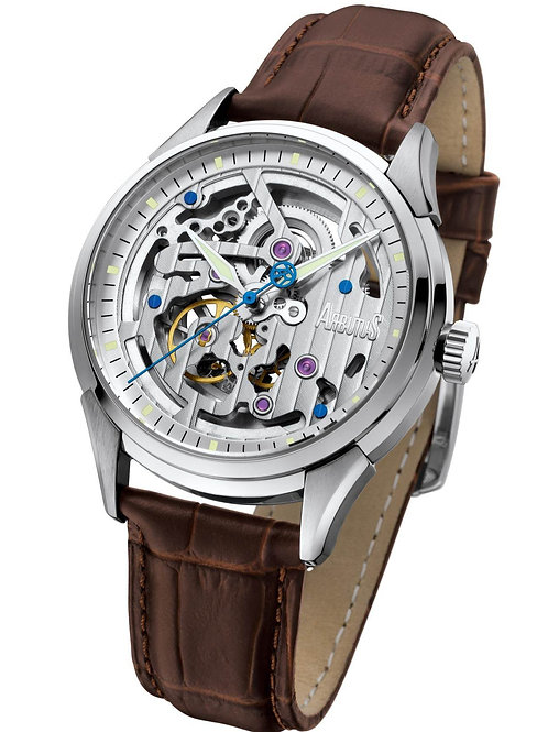 ARBUTUS Skeleton Automatic AR1801SWF, Front View, Stainless Steel, White Dial with Indices and Jewel, Brown Leather Strap
