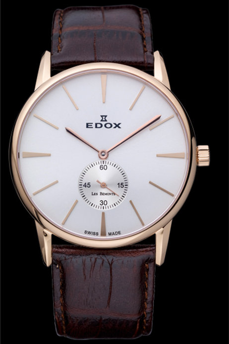 Edox Les Bemont Small seconds Handwinding ED72014-37R-AIR front view