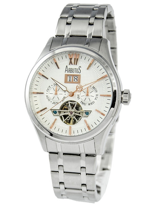 ARBUTUS Open Heart AR1614SWS, Front View, White Dial with Rosegold Indices, Stainless Steel Case and Bracelet, Date/Day/Month