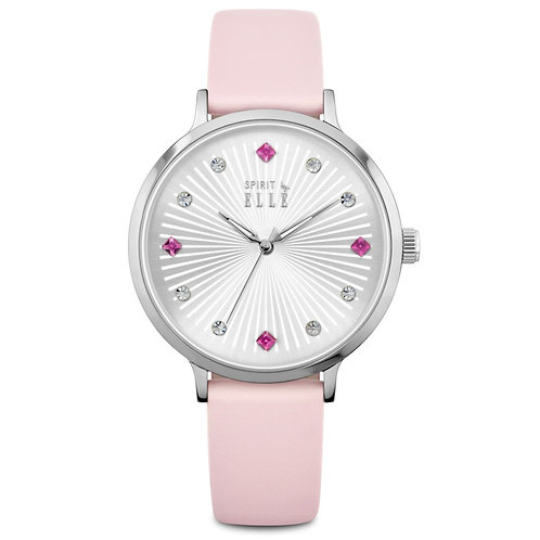 Elle silver dial stone dial and pink strap ES20096S02 front view