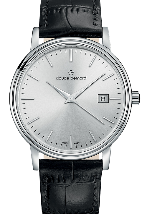 Claude Bernard Classic Gents/Ladies Silver|Silver|Black CB53007-3-AIN front view