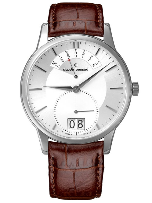 Claude Bernard Classic Date Retrograde Silver|Silver|Brown CB34004-3AIN front view