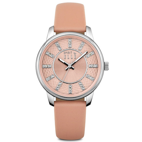 Elle pink gullioche and sunray dial with stones and pink leather strap ES20094S0 front view