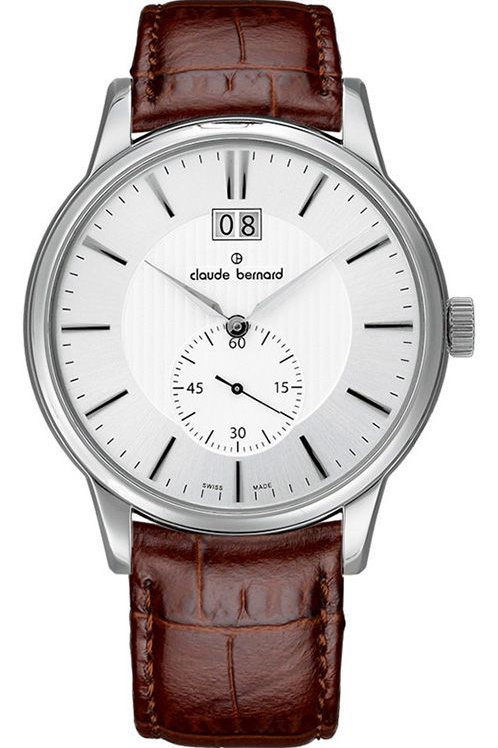 Claude Bernard Classic Big Date Small Second Silver|Silver|Brown CB64005-3-AIN front view