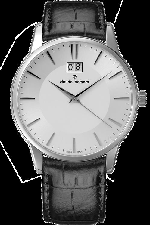 Claude Bernard Classic Big Date Silver|Silver|Brown CB63003-3-AIN front view