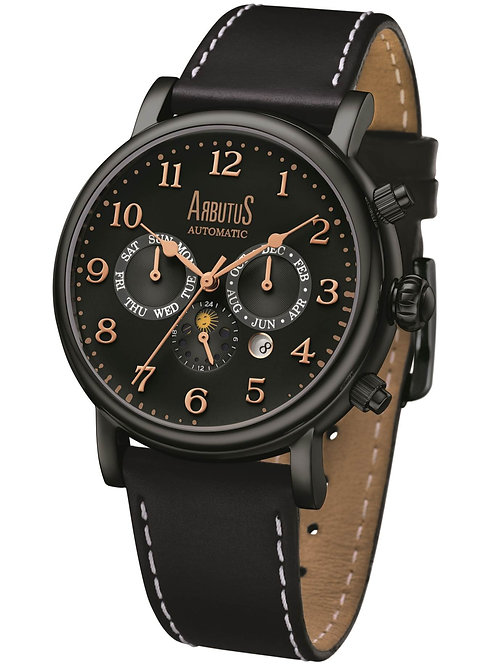 ARBUTUS Multifunction Modern Classic AR1711BBB, Black Dial/Strap/Case, Day/Date/Month Indicator/Sun & Moon Phase,