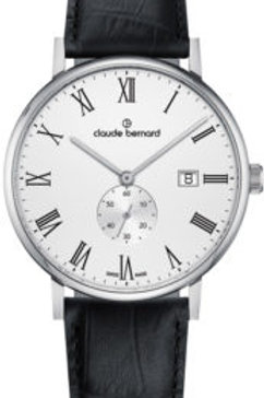 Claude Bernard Slim Line Small Second White|Silver|Brown CB65004-3-BRA front view