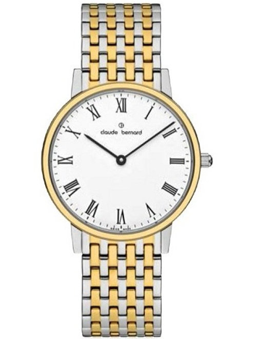 Claude Bernard Classic White|Gold|Gold/Silver CB20206-357JM-BR front view